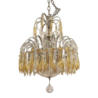 Italian Crystal Beaded Chandelier with Crystal Drops