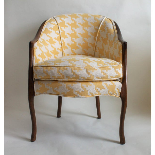 Image of Yellow & White Upholstered Accent Chair