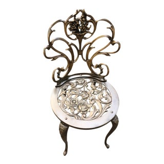 French Rococo Bronze Iron Chair