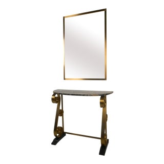 Mid-Century Style Hall Table With Wall Mirror