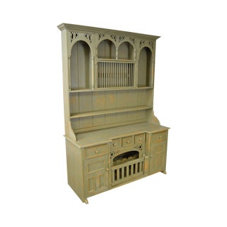 Custom Crafted Green Painted Country Style Open Hutch
