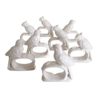 Vintage Ardalt Japan White Porcelain Bird Napkin Rings - S/8
