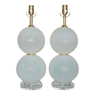 Joe Cariati Handblown White Ball Lamps
