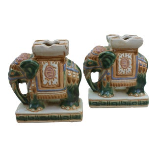 Pair of Mid-Century Mini Elephant Bookends/Candleholders