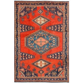 Wiss Dark Copper Wool Persian Rug - 4′5″ × 7′