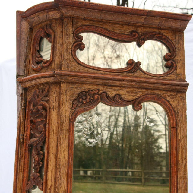 Louis XV Mirrored & Carved Oak Cabinet - Image 7 of 11