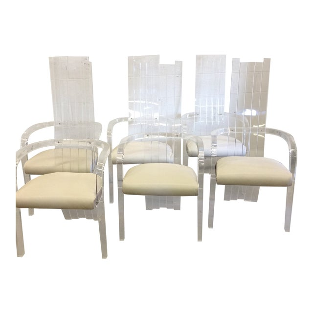 Lucite Tall Back Dining Chairs Set Of 6 Chairish