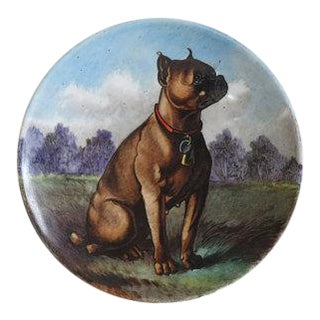 Late 19th Century Hand Painted Porcelain Dish Featuring a Boxer Dog by Gebruder Rödeck of Vienna, Austria