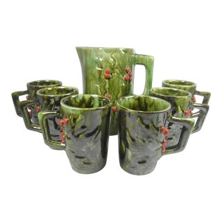Holly Berry Pitcher & Mugs - Set of 7