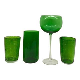 Vintage Green Glasses - Set of 4