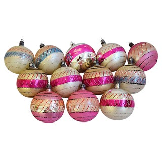 Pastel Pink 1960s Christmas Ornaments w/Box - Set of 12
