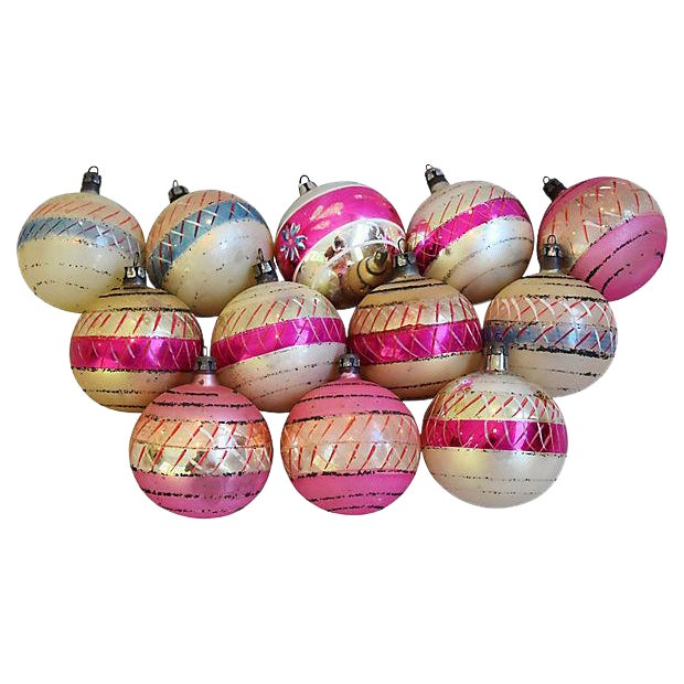 Pastel Pink 1960s Christmas Ornaments w/Box - Set of 12 - Image 1 of 7