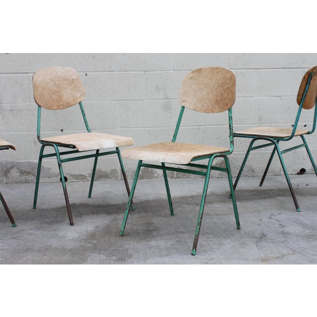 Vintage French Stacking Steel, Bentwood and Leather Schoolhouse Dining Chairs - Set of 4 - Image 5 of 11
