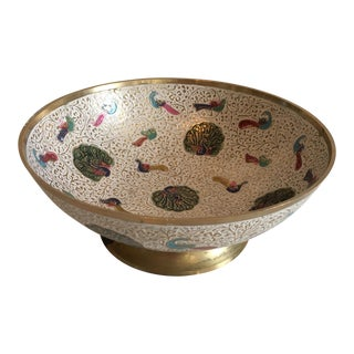 Brass & Enamel Peacock Bowl