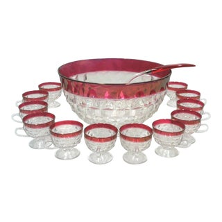 Faceted Cranberry Punch Bowl, Cups & Ladle - 14 Pieces
