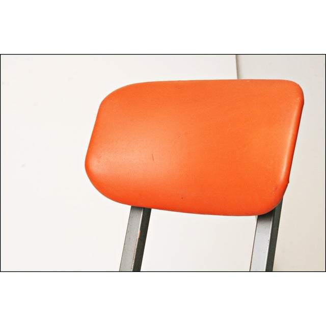 Vintage Orange Industrial Steel Office Chair - Image 7 of 11