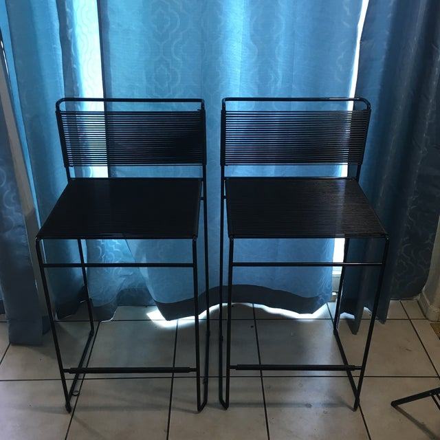 Giandomenico Belotti Black Fly Line Spaghetti Bar Stools- A Pair - Image 2 of 6