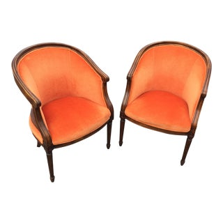 Vintage Velvet Orange French Style Barrel Chairs - A Pair