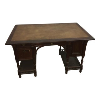 Victorian Leather Top Walnut Desk
