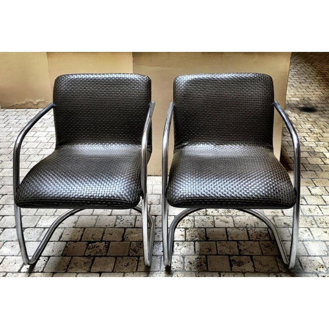 Mid Century Chrome Basket Weave Chair - Pair - Image 7 of 8