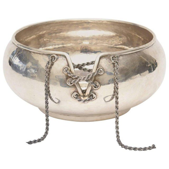 Italian Hand Forged Hallmarked Sterling Silver Corset Bowl - Image 11 of 11