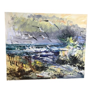 Vintage Expressionist Seascape Oil Painting