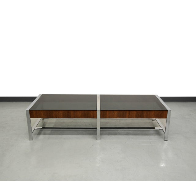 Image of Mid-Century Modern Chrome And Glass Coffee Table