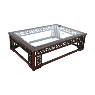 Vintage Chinese Carved Wood Coffee Table
