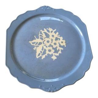 Vintage Harker Blue Cameo Ware Cake Plate