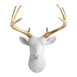 White + Gold Antler Faux Head Bust Mini Deer by Wall Charmers