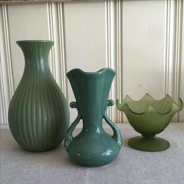 Green Ceramic & Frosted Glass Vases - Set of 3 - Image 2 of 11
