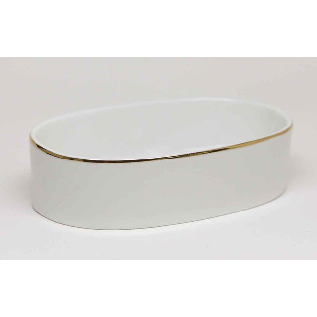 Vintage White Ceramic Soap Dish With Gold Trim Chairish