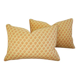 """24"""" X 17"""" Designer Italian Fortuny Persiano Feather/Down Pillows - Pair"""