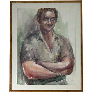 Large Masculine Portrait Watercolor Painting
