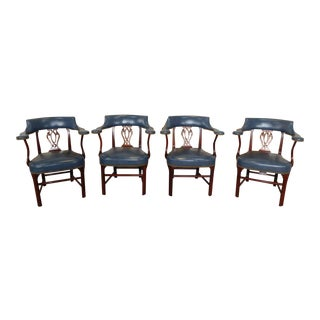 Mahogany & Blue Leather Chippendale-Style Library Chairs - Set of 4