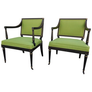 Mid-Century English Green Armchairs - A Pair