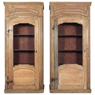 French Farm/Provincial Style Pine Bookcase Cabinets, Circa 1900's- A Pair