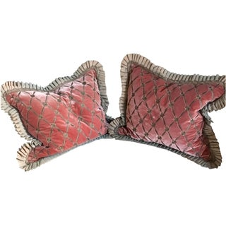 Silk Velvet Embroidery Pillows - A Pair