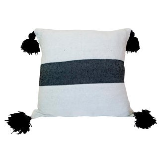 Moroccan Black on White Pom Pom Pillow