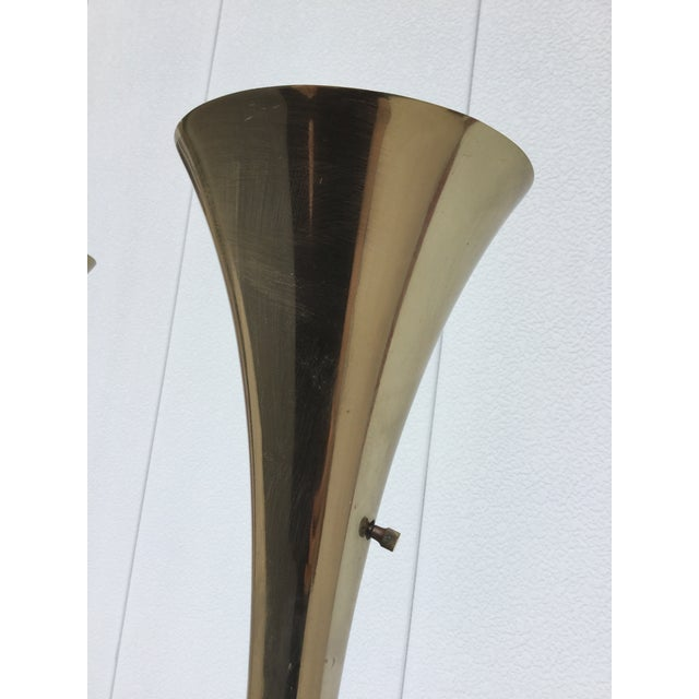 Laurel Brass Torchiere Floor Lamps - A Pair - Image 7 of 10