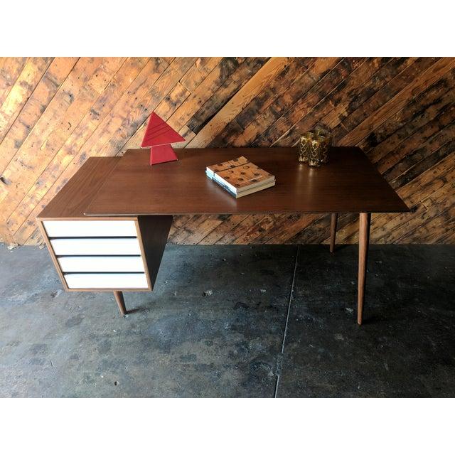Custom Large Mid Century Style Walnut Desk - Image 10 of 11