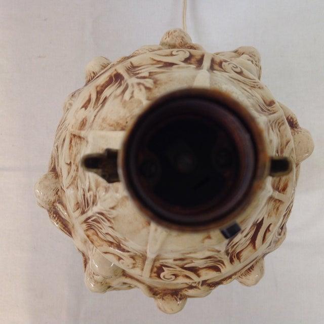 Majolica Porcelain Cherub Relief Lamps - Pair - Image 9 of 9