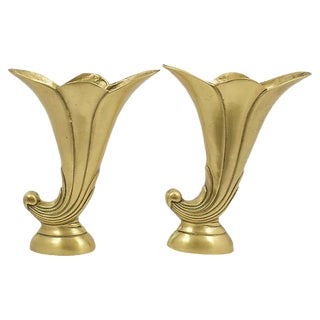 Deco-Style Brass Horn Vases - a Pair
