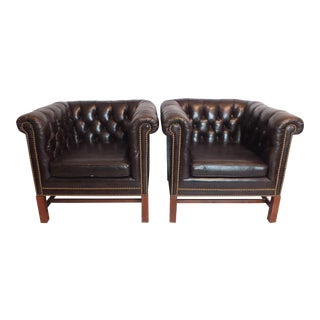 Vintage Kittinger Chesterfield Leather Club Chairs - A Pair