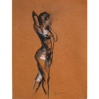Charcoal Figure Drawing on Paper by R. Delamater