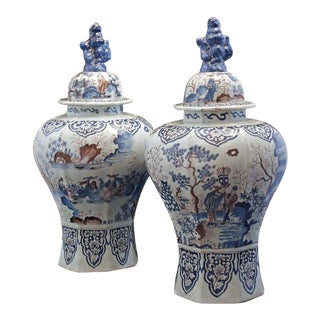 Large Pair of Delft Chinoiserie Decorated Covered Octagonal Baluster Jars