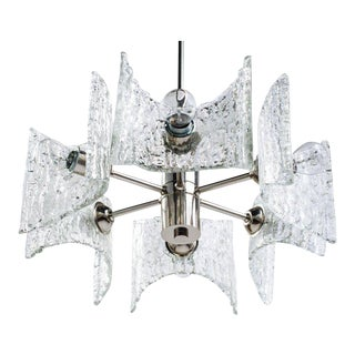 German Mid-Century Modern Ice Glass Chandelier by Kalmar