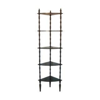 Vintage Mahogany Corner Etagere with Five Shelves