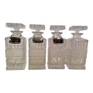 Mid-Century Modern Crystal Decanters With Hanging Tags - Set of 4
