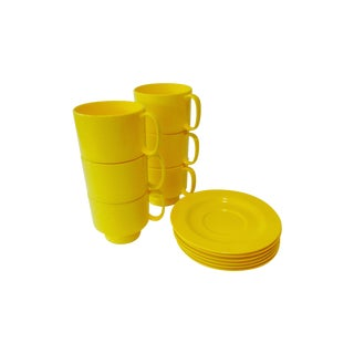 Yellow Plastic Cup & Saucers Heller Style - Set/6